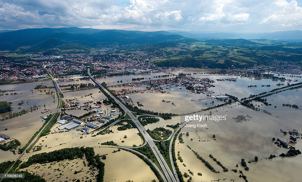 The swollen Danube river has flooded the motorways (Autobahn) A3 (going from left to right) and A92 and Fischerdorf (C), a suburb of the city Deggendorf, on June 6, 2013, in Deggendorf, Germany. Eastern and southern Germany are suffering under floods that in some cases are the worst in 400 years. At least four people are dead and tens of thousands have evacuated their homes.