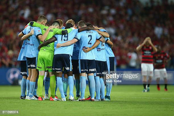 The Sydney FC team form a huddle before kickoff during the round 20 ALeague match between Sydney FC and the Western Sydney Wanderers at Allianz...