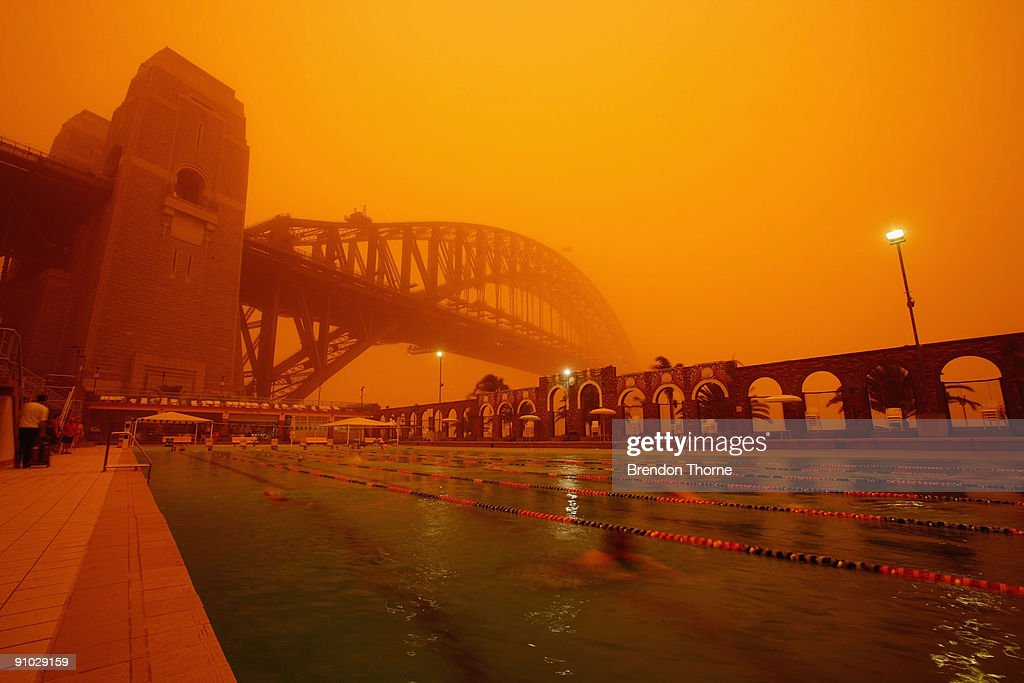 The Sydney Harbour Bridge and North Sydney Olympic pool are seen on September 23, 2009 in Sydney, Australia. Severe wind storms in the west of New South Wales have blown a dust cloud that has engulfed Sydney and surrounding areas.