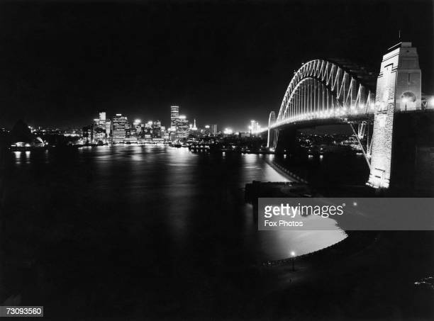 The Sydney Harbour Bridge viewed from the north shore with the Sydney Opera House just visible on the left 1969