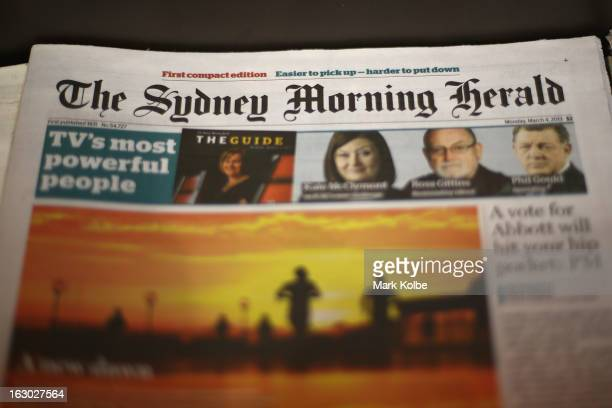 The Sydney Morning Herald's first compact edition front page is seen on March 4 2013 in Sydney Australia The Sydney Morning Herald and The Melbourne...