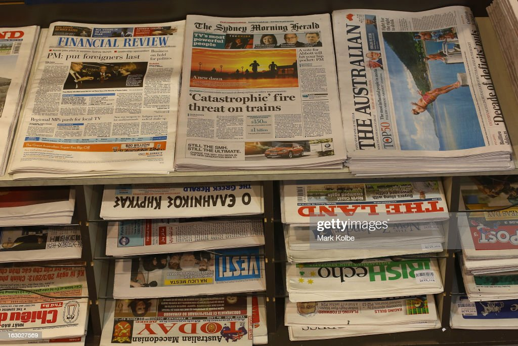 The Sydney Morning Herald's first compact edition front page is seen on display in a news agency on March 4, 2013 in Sydney, Australia. The Sydney Morning Herald and The Melbourne Age published thier first tabloid size editions today, after 180 years of producing weekday broadsheets.