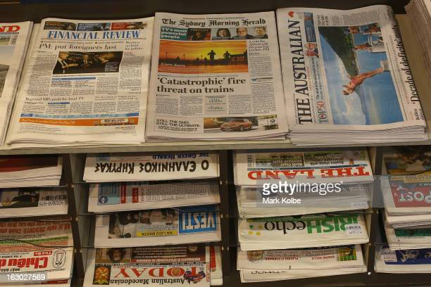 The Sydney Morning Herald's first compact edition front page is seen on display in a news agency on March 4 2013 in Sydney Australia The Sydney...