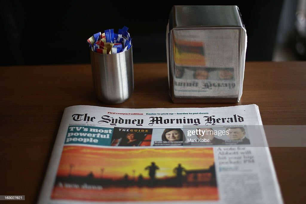 The Sydney Morning Herald's first compact edition front page is seen on March 4, 2013 in Sydney, Australia. The Sydney Morning Herald and The Melbourne Age published thier first tabloid size editions today, after 180 years of producing weekday broadsheets.