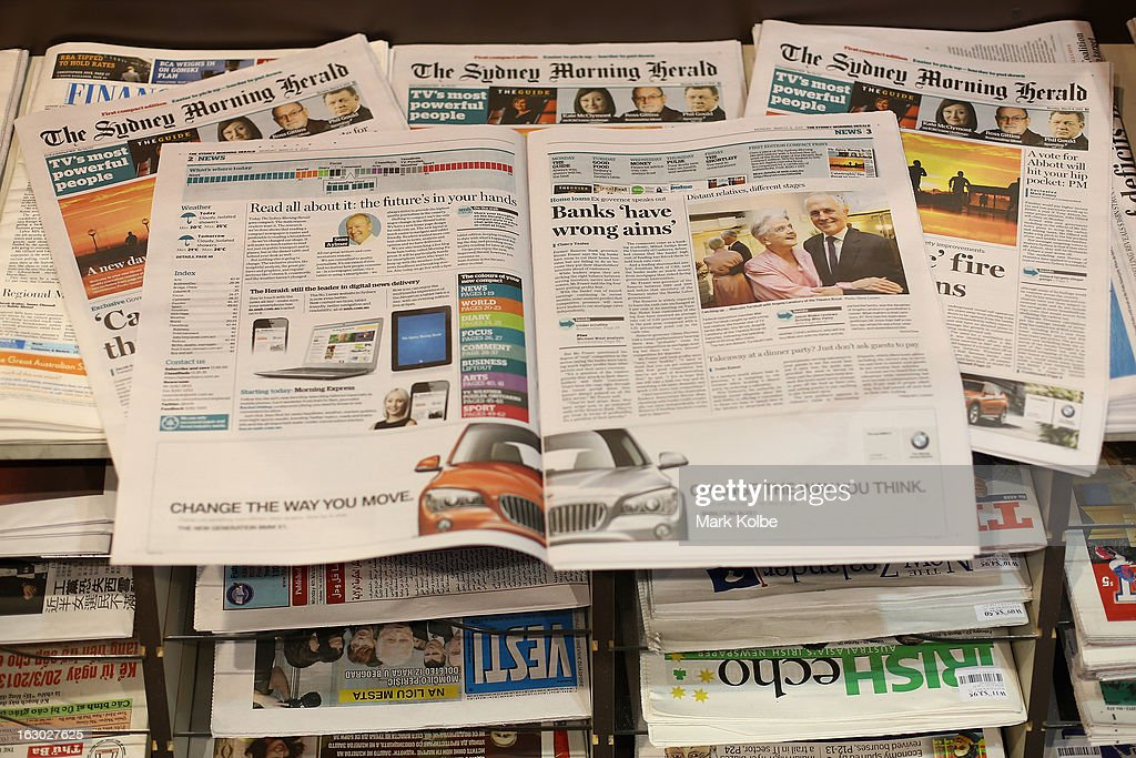 The Sydney Morning Herald's first compact edition is seen on display in a news agency on March 4, 2013 in Sydney, Australia. The Sydney Morning Herald and The Melbourne Age published thier first tabloid size editions today, after 180 years of producing weekday broadsheets.