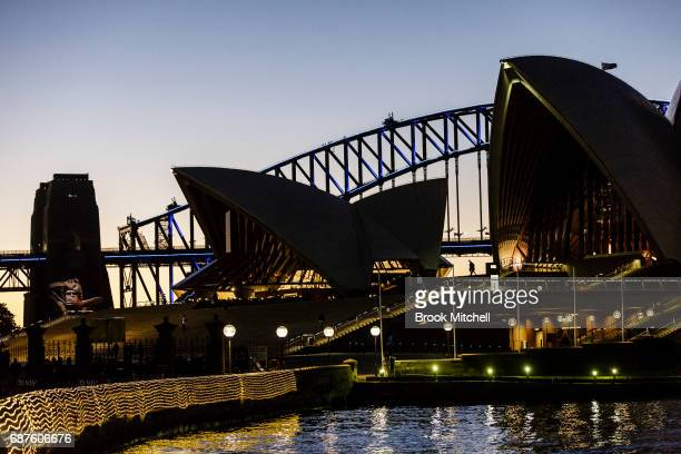 The Sydney Opera House and Harbour Bridge lit ahead of Vivid Sydney at The Royal Botanic Gardens on May 24 2017 in Sydney Australia Vivid Sydney is...