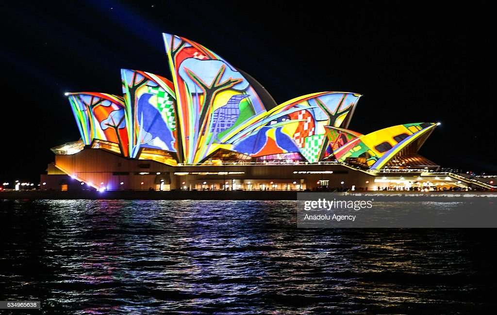 The Sydney Opera House is being illuminated with lights, displaying different colors and shape within the activities of 'Vivid Sydney' on May 28, 2016 in Sydney, Australia. Vivid Sydney, now in its eighth year, is Australia's major event in winter and is recognized as the largest event of its kind in the world combining light, music and ideas. Vivid Sydney is owned, managed and produced by Destination NSW, the NSW Governments tourism and major events agency. The festival takes place May 27 through June 18.