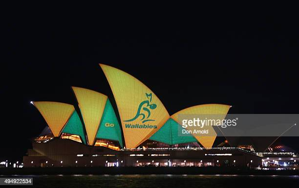 The Sydney Opera House is illuminated in Green Gold ahead of the Rugby World Cup final on October 30 2015 in Sydney Australia The Australian...