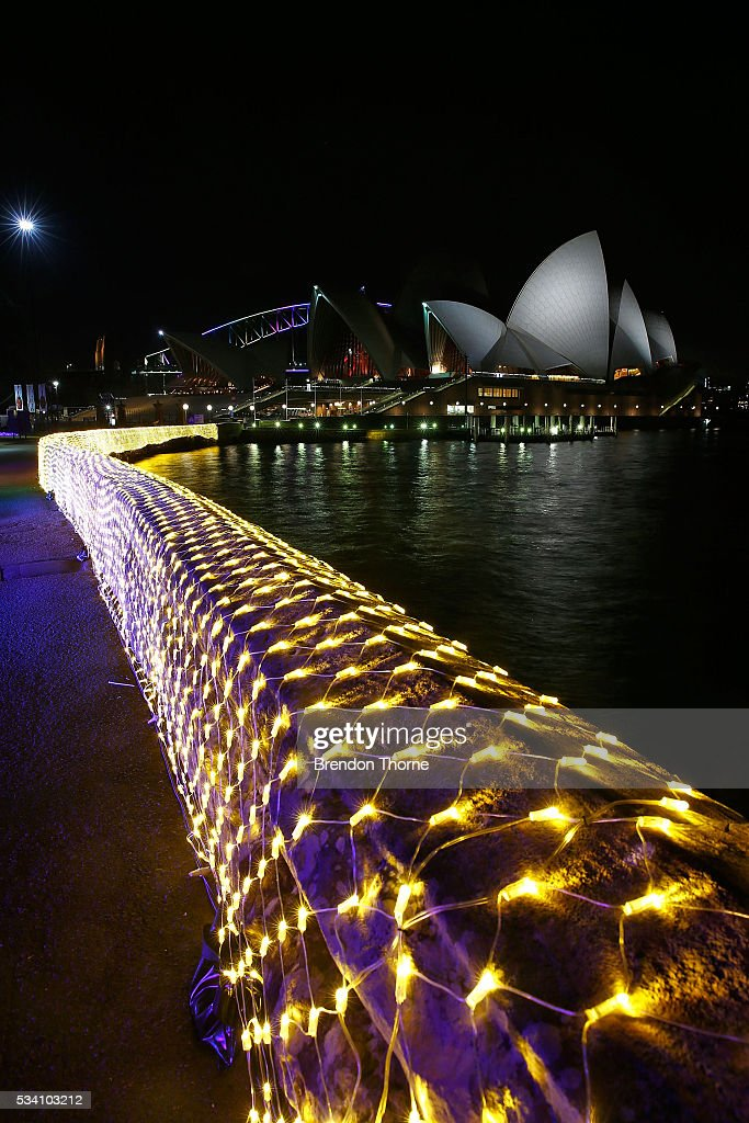 The Sydney Opera House is seen from inside the 'Cathedral of Light' at The Royal Botanic Gardens on May 25, 2016 in Sydney, Australia. Held annually, Vivid Sydney is the world's largest festival of light, music and ideas.