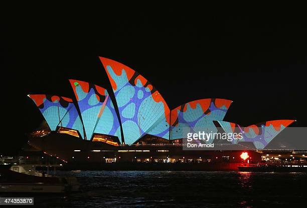 The Sydney Opera House is seen illuminated as part of the Vivid Sydney Festival on May 22 2015 in Sydney Australia Vivid Sydney is an annual festival...