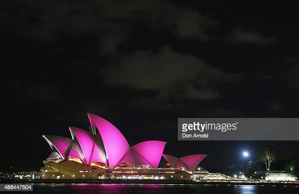 The Sydney Opera House is seen with its sails turned pink to commemorate ten years of placing McGrath Breast Care Nurses in communities across...