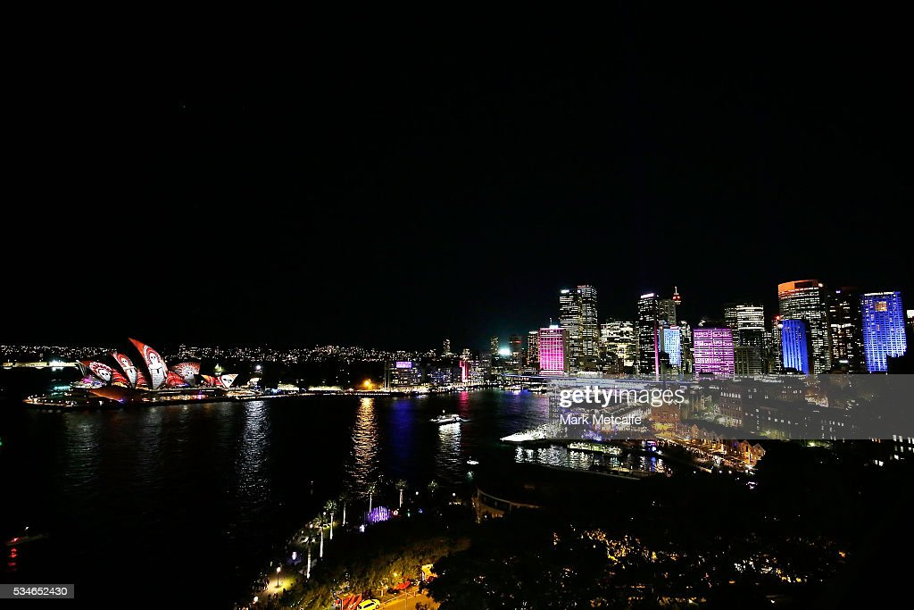 The Sydney Opera House sails and the CBD light up as part of Vivid Sydney on May 27, 2016 in Sydney, Australia. Vivid Sydney is an annual festival that features light sculptures and installations throughout the city. The festival takes place May 27 through June 18.