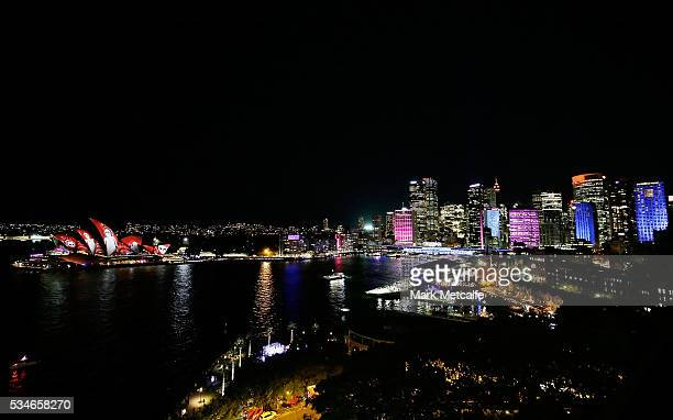 The Sydney Opera House sails and the CBD light up as part of Vivid Sydney on May 27 2016 in Sydney Australia Vivid Sydney is an annual festival that...