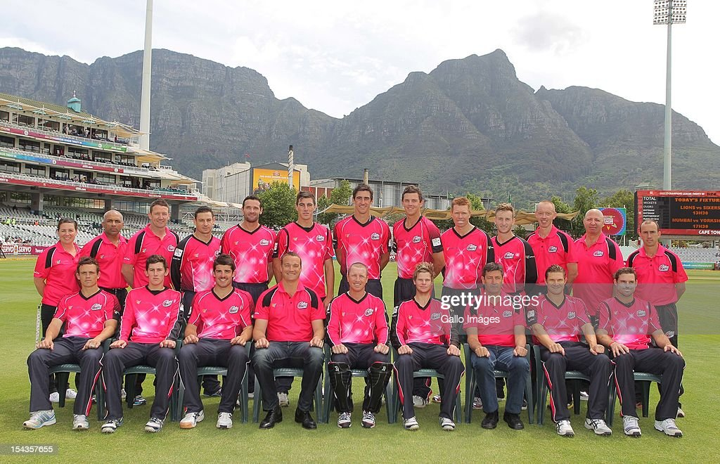 The Sydney Sixers pose for a team photo during the Karbonn Smart CLT20 match between bizbub Highveld Lions of South Africa and Sydney Sixers of Australia at Sahara Park Newlands on October 18, 2012 in Cape Town, South Africa.