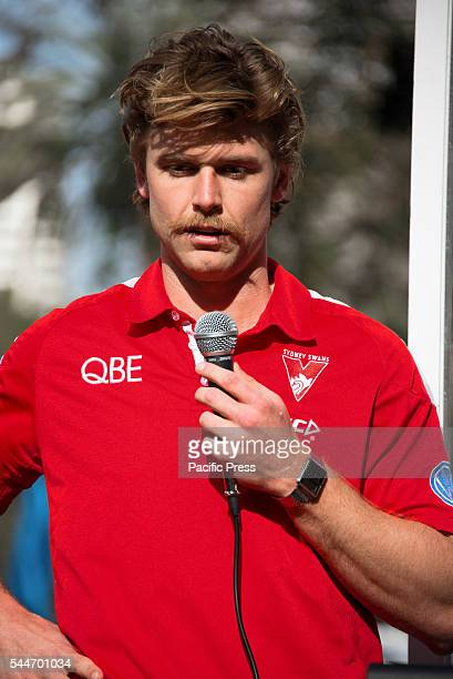 PARK SYDNEY NSW AUSTRALIA The Sydney Swan's Dane Rampe speaks to the media at the launch of their Reconciliation Action Plan along with Lance...