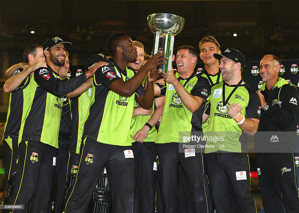 The Sydney Thunder celebrate after winning the Big Bash League final match between Melbourne Stars and the Sydney Thunder at Melbourne Cricket Ground on January 24, 2016 in Melbourne, Australia.