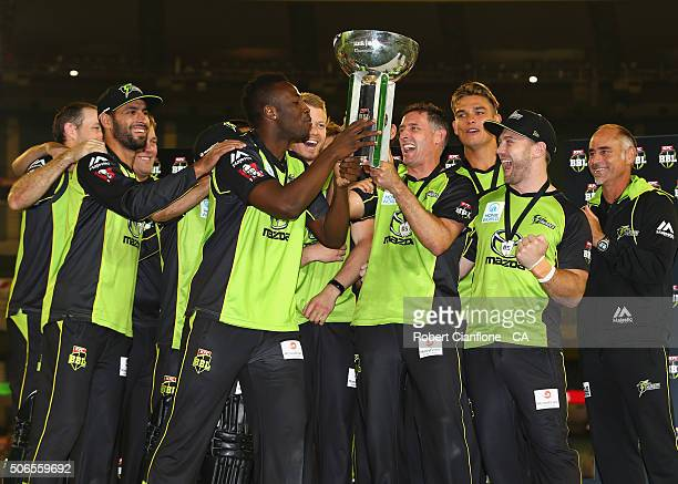 The Sydney Thunder celebrate after winning the Big Bash League final match between Melbourne Stars and the Sydney Thunder at Melbourne Cricket Ground...
