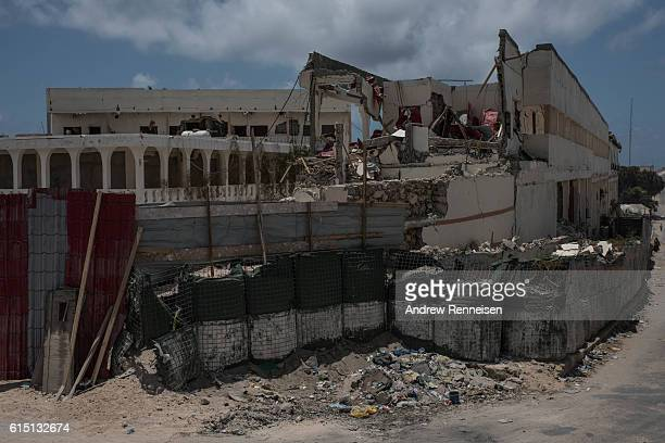 The SYL Hotel lays in ruins on October 13 2016 in Mogadishu Somalia The hotel was destroyed by an Al Shabaab truck bomb Somalia is on the brink of...