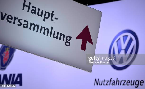 The symbol of German carmaker Volkswagen AG is on display prior the company's annual general shareholders meeting on May 10 2017 in Hanover Germany...