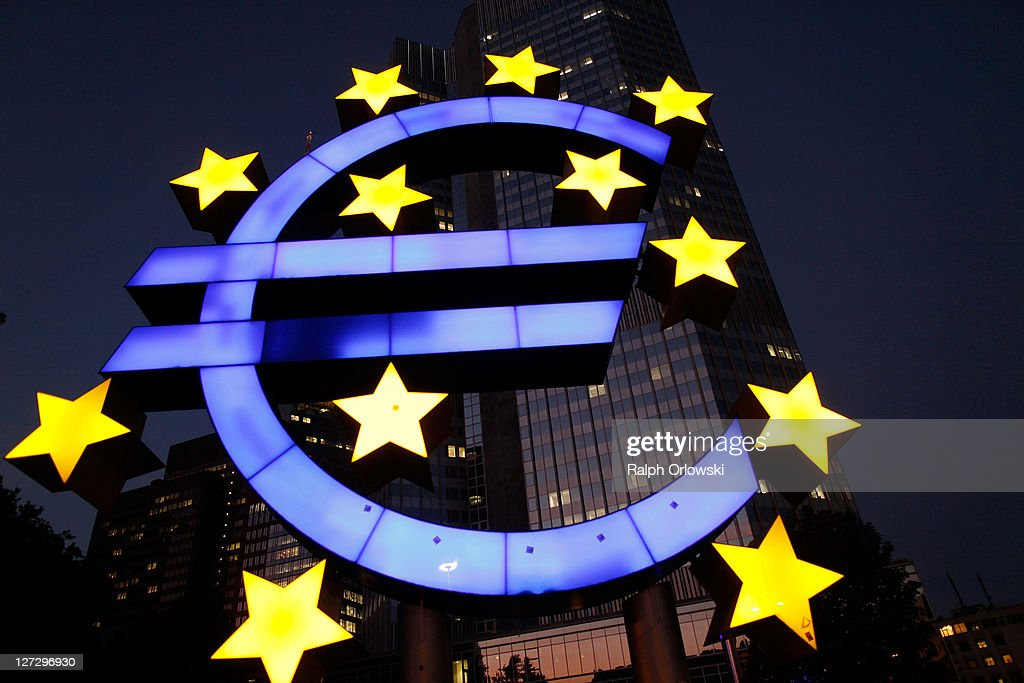 The symbol of the European common currency, the Euro, stands in front of the headquarters of the European Central Bank (ECB) on September 27, 2011 in Frankfurt am Main, Germany. Europe is continuing to wrestle with the ominous prospect of a Greek debt default that many fear could spread panic and push the already fragile economies of Italy, Portugal and Spain into a crisis that would rock the Eurozone and lead to global repercussions. On Thursday the Bundestag, under the urging of German Chancellor Angela Merkel, is expected to pass an increase in funding for the European Financial Stability Facility (EFSF), a measure many see as necessary for financial markets to regain confidence in the European banking system.