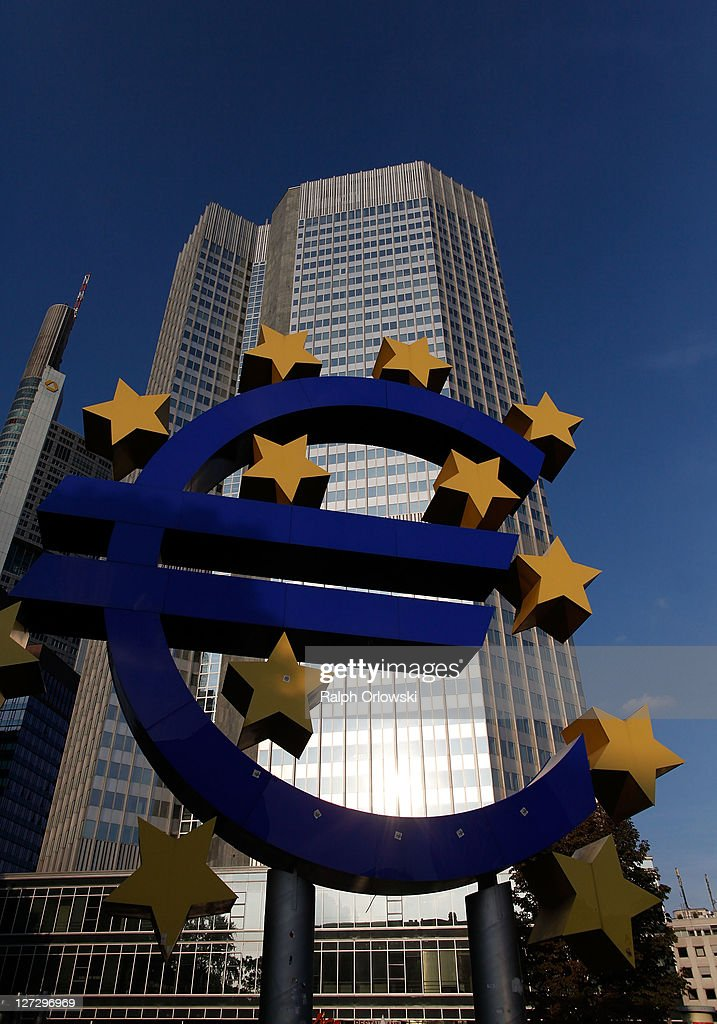 The symbol of the European common currency, the Euro stands past the headquarters of the European Central Bank (ECB) on September 27, 2011 in Frankfurt am Main, Germany. Europe is continuing to wrestle with the ominous prospect of a Greek debt default that many fear could spread panic and push the already fragile economies of Italy, Portugal and Spain into a crisis that would rock the Eurozone and lead to global repercussions. On Thursday the Bundestag, under the urging of German Chancellor Angela Merkel, is expected to pass an increase in funding for the European Financial Stability Facility (EFSF), a measure many see as necessary for financial markets to regain confidence in the European banking system.