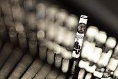 The @ symbol on a typewriter