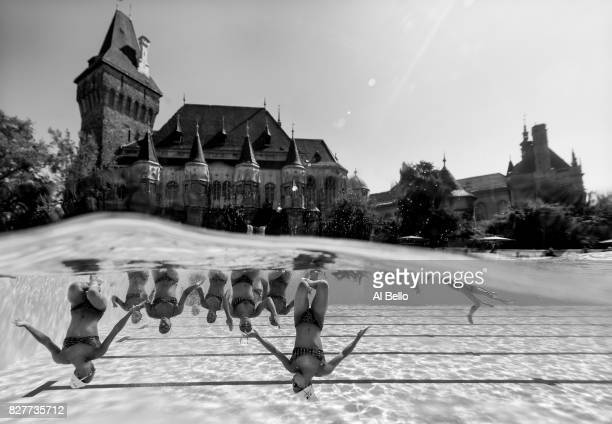 The Synchronised Swimming Team of France trains in front of the Vajdahunyad Castle during day 4 of the Budapest 2017 FINA World Championships on July...
