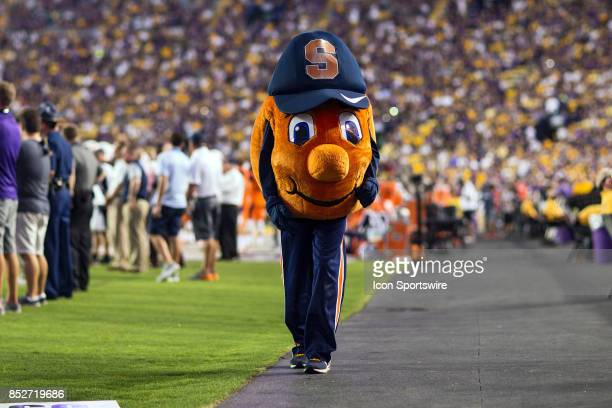 The Syracuse mascot walks the sideline during a game between the Syracuse Orangemen v LSU Tigers on September 23 2017 at Tiger Stadium in Baton Rouge...