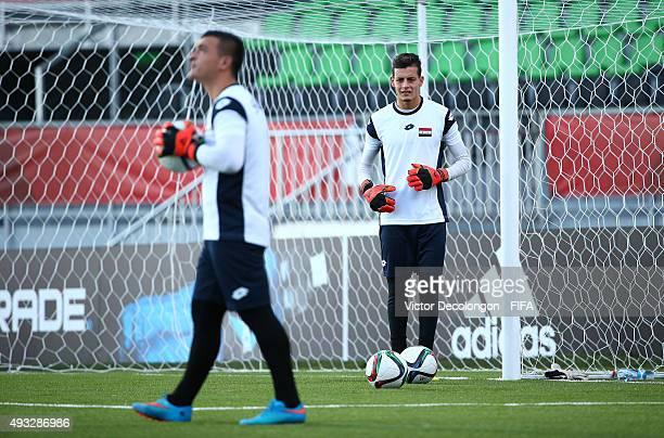 The Syria U17 team train at Estadio Chinquihue on October 18 2015 in Puerto Montt Chile