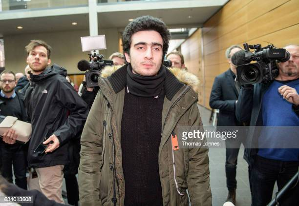 The Syrian refugee Anas Modamani arrives for the court session over his lawsuit against Facebook at the Landgericht courthouse on February 6 2017 in...