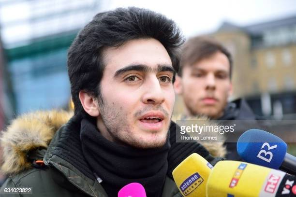 The Syrian refugee Anas Modamani speaks to the media after the court session over his lawsuit against Facebook at the Landgericht courthouse on...