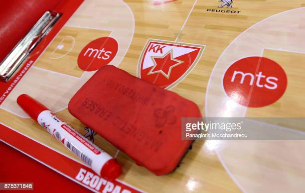 The system cardboard on the bench of Crvena Zvezda before the 2017/2018 Turkish Airlines EuroLeague Regular Season Round 8 game between Olympiacos...