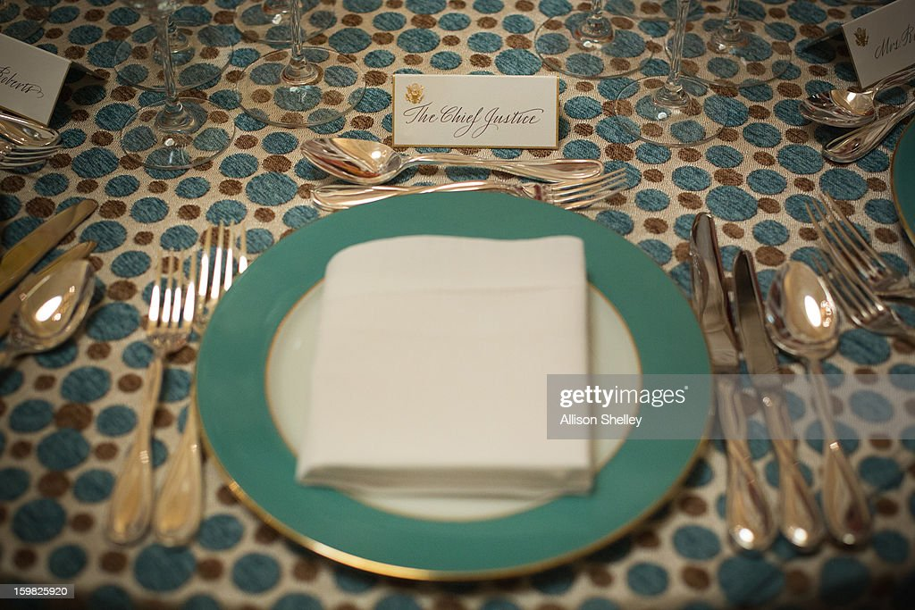 The table setting for U.S. Chief Justice John Roberts sits ready for the Inaugural Luncheon in Statuary Hall on Inauguration day at the U.S. Capitol building January 21, 2013 in Washington D.C. U.S. President Barack Obama, will be ceremonially sworn in for his second term today.