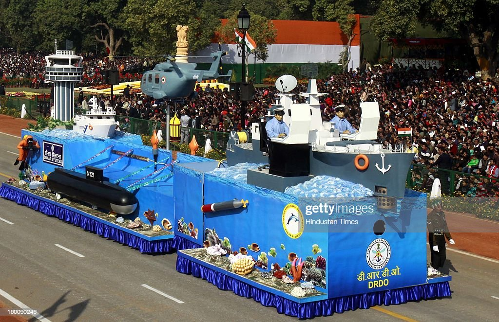 The Tableau highlights the contributions of naval Laboratories of DRDO during the 64th Republic Day parade celebration at Raj path on January 26, 2013 in New Delhi, India. India marked its Republic Day with celebrations held under heavy security, especially in New Delhi where large areas were sealed off for an annual parade of military hardware.