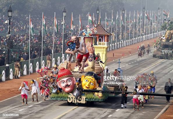 The tableau of Indian State of Goa is seen during the full dress rehearsal for the upcoming Indian Republic Day parade on Rajpath in New Delhi India...