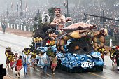 The tableau of Indian State of Goa march past during the ceremony of 66th Republic Day of India at Rajpath on January 26 2015 in New Delhi India...