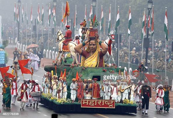 The tableau of Indian State of Maharashtra march past during the ceremony of 66th Republic Day of India at Rajpath on January 26 2015 in New Delhi...