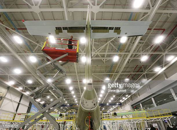 The Tail of a Q400 is worked on as WestJet officials were on hand for tours of the Bombardier manufacturing plant where the Q400 planes are made...