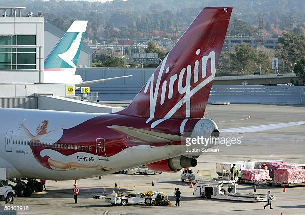 The tail section of a Virgin Atlantic 747 is seen on the tarmac at San Francisco International Airport December 9 2005 in San Francisco Virgin...