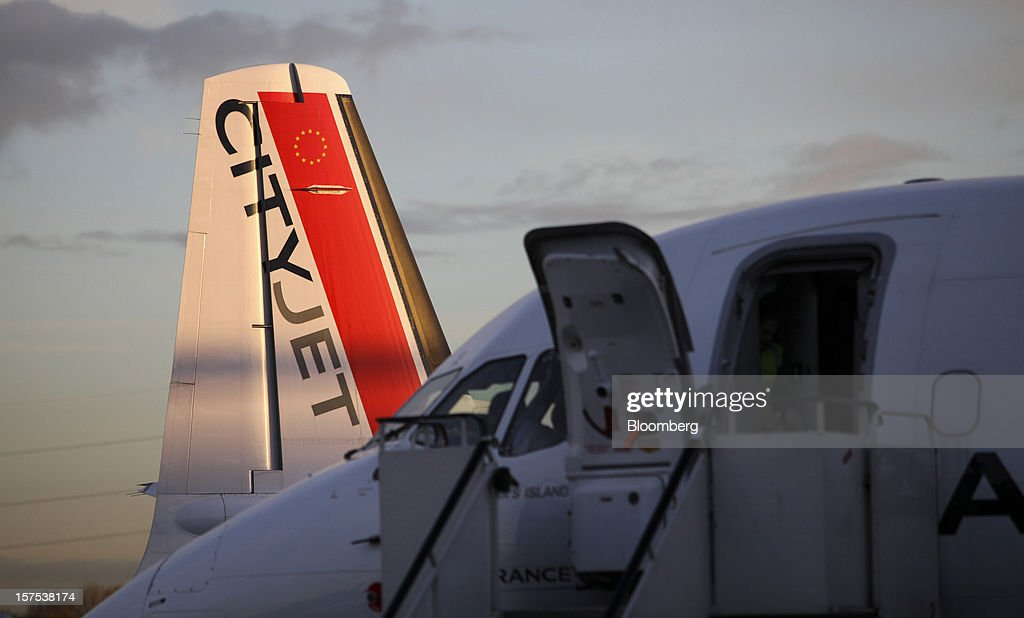 The tailfin of a CityJet Ltd. aircraft is seen on the tarmac at City Airport in London, U.K., on Tuesday, Dec. 4, 2012. Air France-KLM Group's CityJet unit is studying options for a new investor, with a trade buyer a possibility given its strength at London City airport, Chief Executive Officer Christine Ourmieres said in an interview. Photographer: Chris Ratcliffe/Bloomberg via Getty Images
