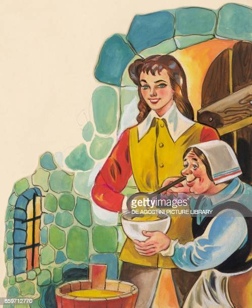 The tailor receiving the jam from the peasant woman illustration for The Brave Little Tailor fairy tale by the Grimm brothers Jacob and Wilhelm...