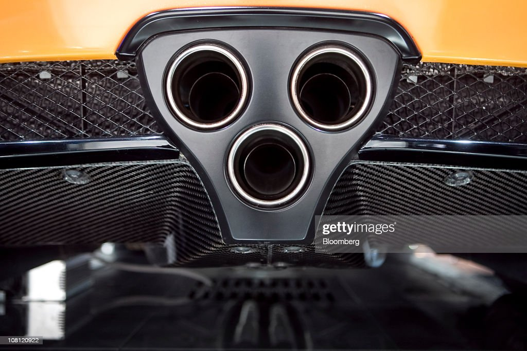 The tailpipes and rear carbon-fiber diffuser of a Toyota Motor Corp. Lexus LFA supercar sit on display during the North American International Auto Show (NAIAS) in Detroit, Michigan, U.S., on Wednesday, Jan. 12, 2011. The 2011 Detroit auto show runs through Jan. 23 and features more than 30 new vehicle premieres. Photographer: Keyur Khamar/Bloomberg via Getty Images