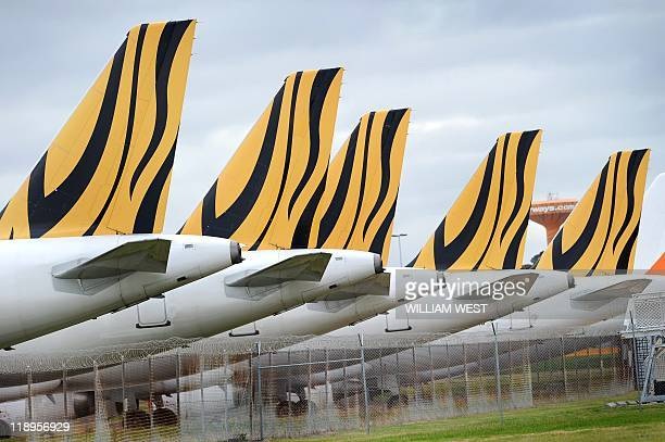 The tails of the five grounded Tiger Airways planes are lined up as they sit on the tarmac at Melbourne's Tullamarine Airport on July 8 2011 New...