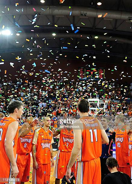 The Taipans celebrate after wining game two of the NBL Grand Final series between the Cairns Taipans and the New Zealand Breakers at Cairns...