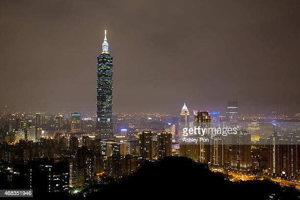 The Taipei 101 building is illuminated in blue to mark the World Autism Awareness Day on April 2 2015 in Taipei City Taiwan