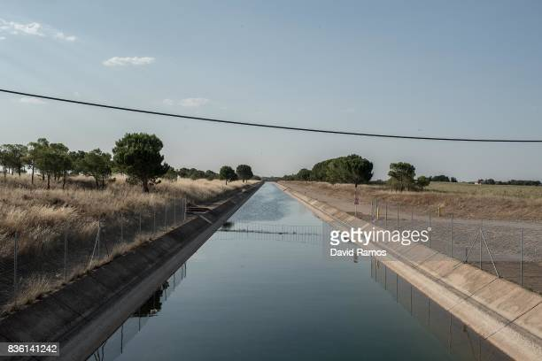 The TajoSegura interbasin water transfer canal is seen crossing fields on July 27 2017 in Los Anguijes Spain As the severe drought in Spain's...