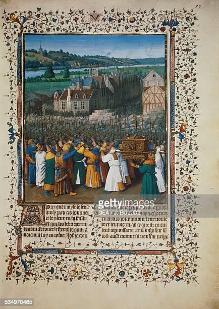 The taking of Jericho by Jean Fouquet miniature Ms fr 247 folio 89 France 15th century Paris Bibliothèque Nationale De France