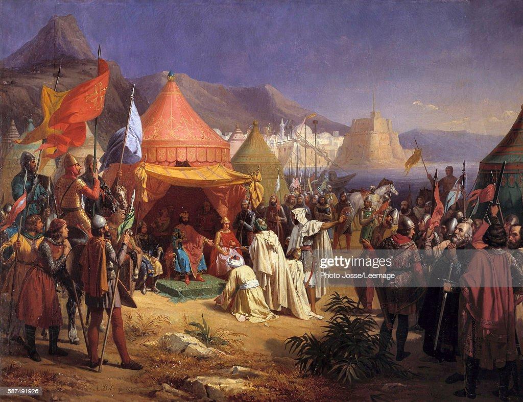 Raymond de Saint Gilles receiving the capitulation of cadi Fekr el Mulk Painting by CharlesAlexandre Debacq 1842 115 x 148 m Castle Museum Versailles