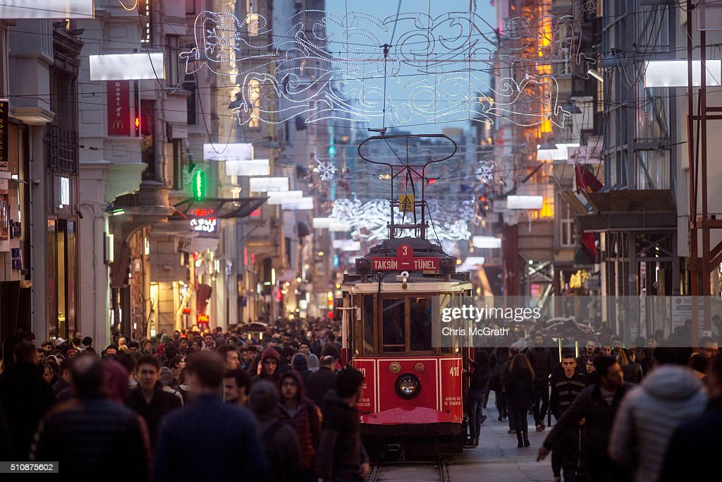 The TaksimTunel nostalgic tramway is seen on Istiklal street on February 17 2016 in Istanbul Turkey The traditional trams that serviced the famous...