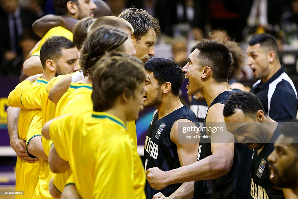 The Tall Blacks perform a haka during the game two match between the New Zealand Tall Blacks and Australian Boomers at at TSB Bank Arena on August 18, 2015 in Wellington, New Zealand.
